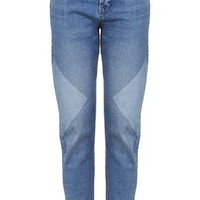 MOTO Colour-Block Panel Girlfriend Jeans - Mid Stone