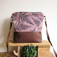 Violet Crossbody bag, Hand printed fabric, Ferns stamp, Middle size handbag, Every day bag, violet bag
