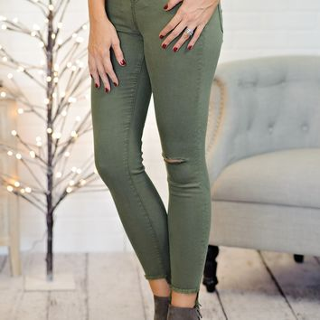 *  Melee High Rise Skinny Jean With Frayed Hem : Olive