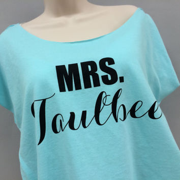 Personalized MRS. Off the Shoulder, Comfy Shirt, Workout Shirt, Terry Dolman, Bridal Shower Gift, Engagement Gift, Wedding Gift