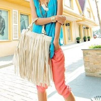 Brighdeal 2013 High Quality Lady Student Punk Tassel Fringe Handbag Satchel Purse Hobo Tote with Shoulder Strap (Beige)