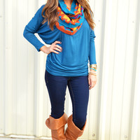 Casually Comfy Piko Tunic: Cornflower Blue