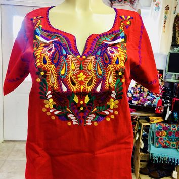 Amazing Mexican Embroidered Peacock Blouse Red