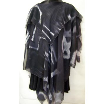 Black And Grey Abstract Silk Poncho