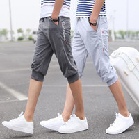 2016 summer South Korea slim thin trunks feet pants teenagers fashion casual beach shorts
