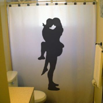 Sexy Lovers Shower Curtain Bathroom Decor Bath Romantic Embrace Romance Pin Up Girl Guy Man Woman Male Female Nude Naked Silhouette