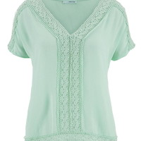 Open Lace And Gauze Tee - Mint Creme