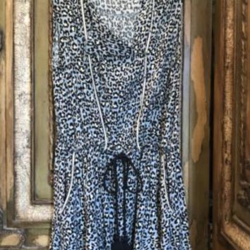 Animal Print Blue Tunic Top Dress Rachel Roy