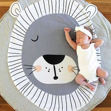 Kid's Round Carpet Cotton Rug/Tummy Time Play Mat (Fox, Swan, or Lion print)
