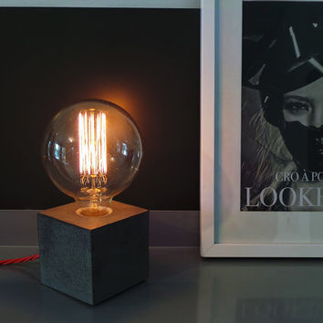 """Concrete Lamp """"The Cube"""" - Lighting - Dark grey concrete table lamp with red twisted textile cable and extra large vintage Edison bulb"""