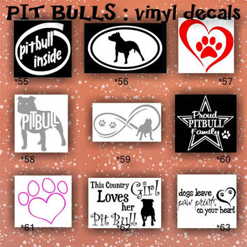 PIT BULLS vinyl decals - 55-63 - personalized car window decals - custom vinyl decals