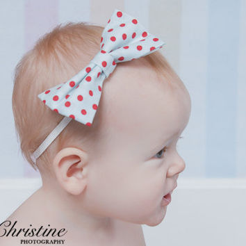 Bow Headband, Blue and Red Polka Dot Fabric Bow Headband, Baby Photo Prop
