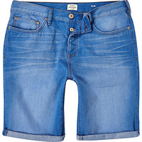 River Island MensBlue denim rolled up slim shorts
