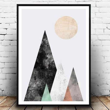 Watercolor print, Abstract poster, Mountains print, geometric art, Nordic design, Wall print, Modern art, minimalist print, triangles print