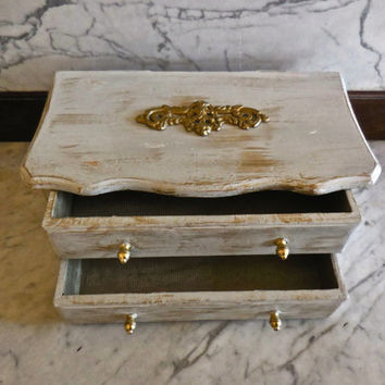 Jewelry Box/UpCycled/ 2 Drawer/Paint Distressed Antique White Gold/Ornate Vintage Brass Drawer Handle Backplate