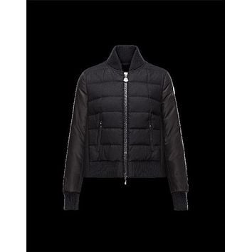 Moncler GENTAU Bomber Mandarin Collar Black Jackets Wool Nylon Flannel Womens 41456773QM