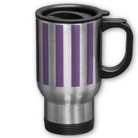 Bellflower Violet And Vertical White Stripes Coffee Mugs from Zazzle.com