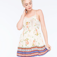 Chloe K Floral Border Print Dress Multi  In Sizes