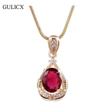 ONETOW GULICX Fashion Women Natural Stone Crystal Pendants 18K White Gold Plated Ruby Red CZ Zirconia Jewelry with Necklace P001/P002