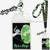 Licensed cool Rick & Morty Wubba Lubba Dub Dub ID Lanyard Neck Strap With Rubber Charm NWT