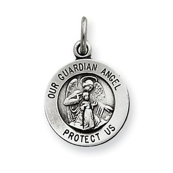925 Sterling Silver Antiqued 12mm Guarding Angel Girls Pendant