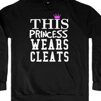 This princess wears soccer softball cleats black hoodie