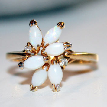Beautiful 1960s Vintage Gold Filled and Opal and Rhinestone Cocktail Ring Size 10