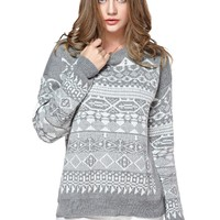 TopStyliShop Women's Stripes and Rhombus Pattern Round Neck Grey Sweater