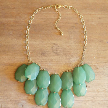 Sea Green Statement Necklace - Emerald Bib Necklace