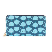 BABY WHALE PRINT VINYL CLUTCH WALLET FAUX LEATHER ZIPPER