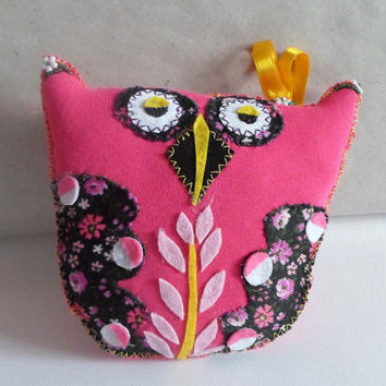 Pink Owl plushy Owl Stuffed Toy Pillow, Home decor cushion, Nursery Room decor, Hand Sewn Owl Cute Pillow, Owl Toy Handmade, Stuffed Animal