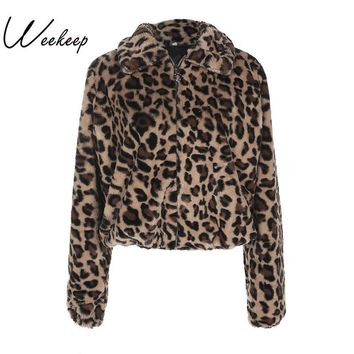 Trendy Winter Jacket Weekeep Winter Women Warm Thick Leopard Coat Turn-Down Collar Zipper Faux Fur Coats Casaco Feminino Female Harajuku 2018  AT_92_12