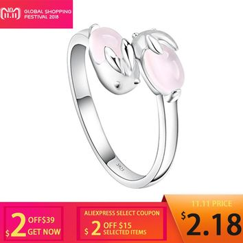 KISS MANDY Factory Price Cute Open Rings with 2 Pink Quartz Rabbits Silver Color Fashion Jewelry Birthday Gift 2018 AR07
