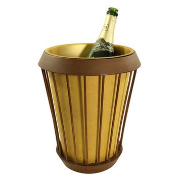 Pre-owned Vintage Wood and Aluminum Champagne Bucket