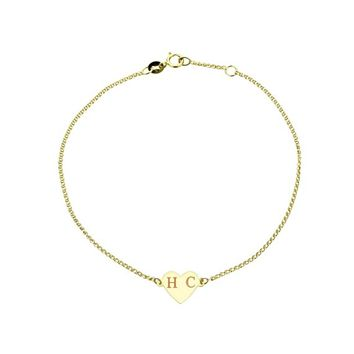 14K Solid Yellow/Rose Gold Personalized Custom Engraving Initial Name Heart Charm Bracelet Adjustable 6 to 6.5 Inches