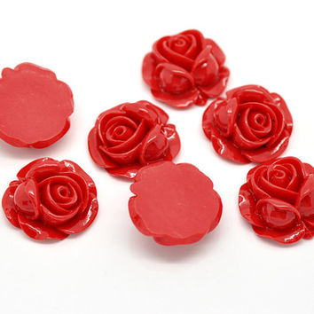 20pcs Red Cabochon Roses - Wholesale Cabochon Flowers - Lot Bulk Cabochon Supply - Ship From USA - Resin Rose Cabochon DIY Jewelry Craft C55