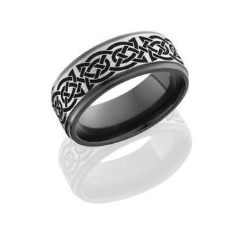 Black Zirconium 8mm Wide Laser Carved Celtic Wedding Band