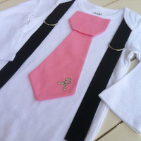 Baby boys Pink tie Onesuit-Breast Cancer Awareness - Onesuit Size NB to 5years- Design Your Own