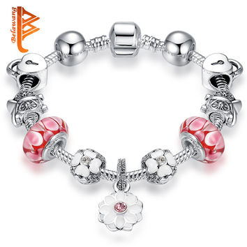 2016 Vintage Silver Plated Charm Murano Glass Bracelets For Women Enamel White Flowers Beads Bracelets Pulseras DIY Jewelry