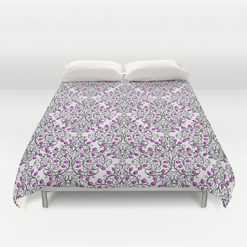 Damask Nature Pink Duvet Cover by Alice Gosling | Society6