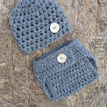 Heather Grey Newborn Button Hat and Diaper Cover Set Baby Photo Prop