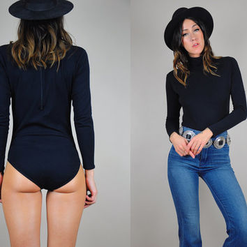 SALE 70's Black turtle neck BODYSUIT