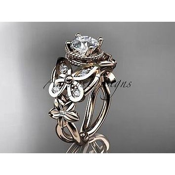 14kt rose gold diamond floral, butterfly engagement ring  ADLR136