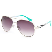 Full Tilt Tribal Ombre Aviator Sunglasses Silver One Size For Women 25741614001