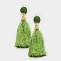 Olive Green & Gold Thread Wrapped Ball Tassel Earrings
