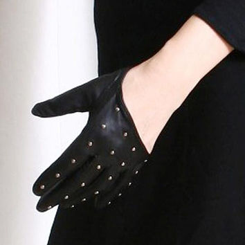 Genuine Leather Runway Punk Rock chic Sparkling Stud Cut Away Wrist Glove FREE SHIPPING