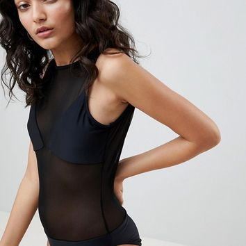 Jaded London Mesh Swimsuit at asos.com