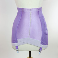 Purple garter girdle shaper, waist cinching firm control with garter hooks,  side zipper, Plus size, size 32, XL