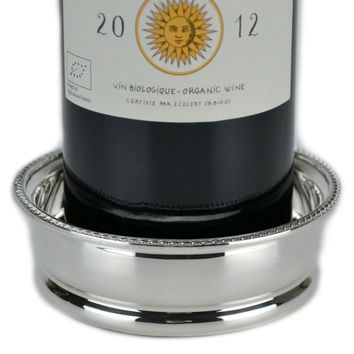 Silver Plated and Wooden Wine Bottle Coaster, Vintage English