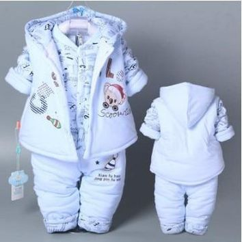 Hot 3 Pcs 2018 Baby Kids Fall Winter Clothing Set Newborn Thick Cotton-Padded Clothes Boys Girls Hooded Vest Coat Tops Pant G107